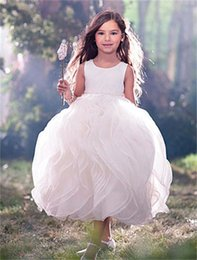 Wholesale Tea Length Unique Wedding Gowns - Unique 2015 Junior Flower Girls Dress White Ruffle Organza Vintage High Neck Tank Girls Pageant Dresses Bow Sash Ball Gown CF307