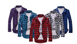 Wholesale Flannel Shirt Dresses - New Men's Long Sleeved Flannel Casual Plaid Shirt Men Checkered Dress Shirts Slim Stylish Fashion