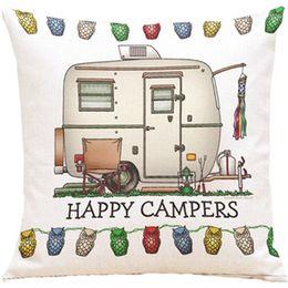 Wholesale Happy Hotels - Cushion Happy camper Cotton Linen Cotton Linen Home Decorative Throw Pillow Sofa Car Bedroom Yellow Cushion cushion Pillow Case