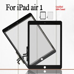 Wholesale White Ipad Air - Free shipping by dhl For Apple iPad Air ipad 5 High Quality Front Glass with Touch Screen Digitizer Assembly black&white color Free Shipping