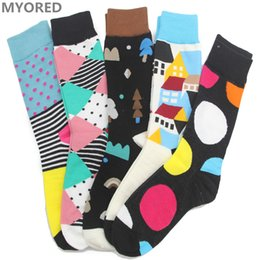 Wholesale Wholesale Mens Tube Socks - Wholesale- MYORED mens combed cotton summer lot socks long tube funny big size winter sokken meias wedding gift sox 5 pairs Lot