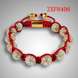 Wholesale Chain High Grade Steel - Nialaya New high-grade Diamonds ball handmade bracelet Shamballa quality goods alloy Plated man and women Adjustable bracelet factoryZXF8406