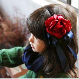 Wholesale red hair flower big - 2016 15PCS Vintage 3D Big Flower Bowknot Girls Hair Clasp Cute Lovely Hair Bands Children Hair Accessories K6629