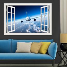 autocollants muraux londres Promotion 3d Paysage Papier peint Avion Autocollant Mural Decal Vinyle Mur Art Mural Grande Vue Fenêtre Bleu Ciel Home Decor Salon