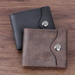 Wholesale Trifold Men Wallet - Mens Leather Trifold Wallets Flipout ID Wallet Bifold PU Leather Cool Brown Black With Metal Buckle A017