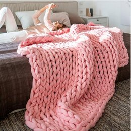 Wholesale Portable Beds Adults - 1PC Crocheted Bed Sofa Blanket For Beds Home Warm Thick Thread Winter Blanket For Adults Blankets European Home Textile