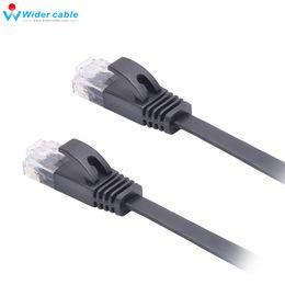 Wholesale Black Network Cable - High Performance Black 1.5mm Thin CAT6 Lan Cable RJ45 to RJ45 Flat CAT 6 Ethenret Network Cable 0.5m