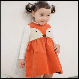 Wholesale Christmas Wholesale Tutu Dress - Sweet Toddler Kids Girls Fox Style Casual Dresses Ruffles Sleeveless Fall Winter Fashion Dresses Orange Color Christmas Dress