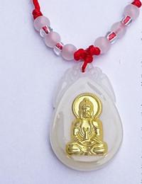 Wholesale Jade Guanyin Pendant - Guanyin maitreya gold jade pendant white jade inlaid with jinmao angel girl necklace pendant A3