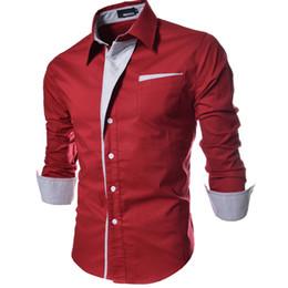 Wholesale Men Dress Clothing - New 4Colors Man Shirts Long Sleeve Single-breasted Pocket Dress Shirts Men Clothing Patchwork Turn-down Autumn Plus Size M-3XL
