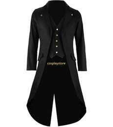 Wholesale Men S Steampunk - Men's Gothic Tailcoat Jacket Steampunk Trench Cosplay Costume Victorian Coat Black Long Coat Men's Tuxedo Suit Halloween Party