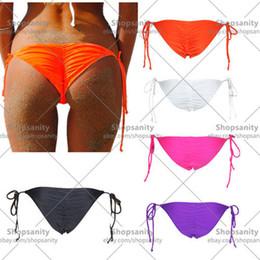 Wholesale Black Scrunch Bikini - w1028 Sexy Womens Brazilian Scrunch bikini bottom Swimwear Beachwear Semi Thong Bottoms