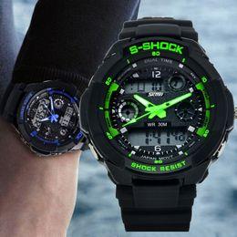 Wholesale S Shock Black - S5Q Multi Function Military S-Shock Sports Watch LED Analog Digital Waterproof Alarm AAACSR