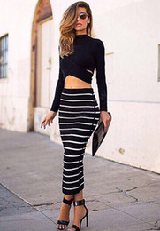 Wholesale Stretch Long Skirt - Lady Women's Crop Tops and Skirt Striped Bodycon Stretch Sexy Maxi Skirt Set Long Sleeve Blouse + Long Skirts b4