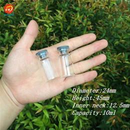 Flaconi di vetro tappi in gomma online-Commercio all'ingrosso- 24 * 45 * 12,5 millimetri 10ml fiale di vetro bottiglie con tappo in gomma mini bottiglie vasetti di iniezione fiale per stoccaggio a prova di liquidi 100pcs