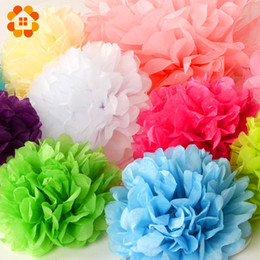 Wholesale Paper Tissue Pompom - 30pcs 4 6 8 10cm 15cm 20cm Decorative Tissue Paper Pom Poms Mix Color Flower Balls Pompom For Wedding Party Home Decoration