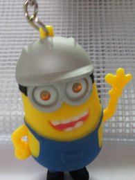 Wholesale Despicable Ring - despicable me Mini 3D minions helmet birthday party keychain flashlight LED Keyring key chain ring Minion in Helmet with Sound