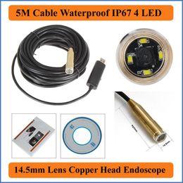 Wholesale Camera Loupe - 5M Cable Length Waterproof IP67 4 LEDs 14.5mm Lens USB Endoscope Inspection camera Copper head Borescope Microscope Loupe