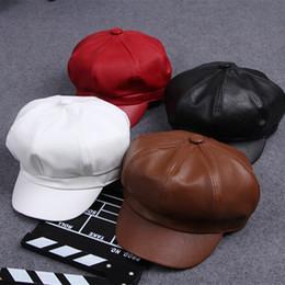 Wholesale Leather Berets - Fashion Women PU Leather Beret Hats Solid Artist Painter Octagonal Beanies Cap Newsboy Gatsby Golf Caps