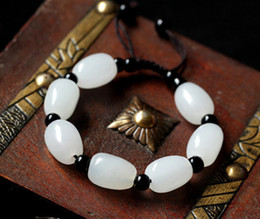 Wholesale Natural Afghanistan white jade Hand catenary Chain Made in China