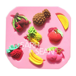 Wholesale Strawberries Soap Molds - M0543 Pineapple Strawberry Banana Fruit Combo fondant cake molds soap chocolate mould for the kitchen baking decoration tool