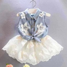 Wholesale Girls Denim Sleeveless Shirts - Girls Outfits Child Clothes Kids Clothing Girl Dress 2015 Summer Denim Shirt Fashion Flower Lace Skirts Children Set Kids Suit Outfits C7102