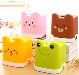 Wholesale Tissue Box Cartoon - 2018 Creative Cute Cartoon Square Paper Towels Waterproof Container Color Bright Lovely Thickening Home Car Tissue Box