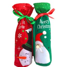 Wholesale Snow For Decoration - Embroidery Santa Claus and Snow Wine Bags Merry Christmas Essential Champagne Decoration Wine Bottle Gift Bags For Party BY0000