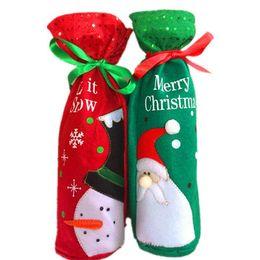 Bordado Papai Noel e Neve Sacos De Vinho Feliz Natal Essencial Champagne Decoração Sacos de Presente de Garrafa de Vinho Para O Partido BY0000 de