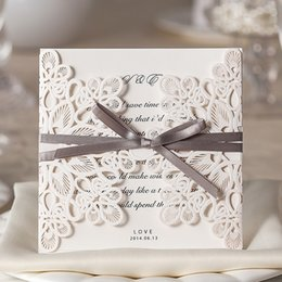 Wholesale Gray Invitations - 2018 New Invitation Cards White Hollow Lace Flora Wedding Favors with Gray Bowknot High Quality Paper Invites Cards
