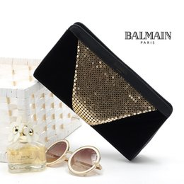 Wholesale Velvet Evening Bags - New Foreign hot products clutches hand bag gold aluminum with black velvet high-grade Clutch Evening Bag