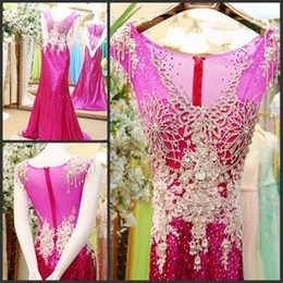 Wholesale celebrity dresses for cheap - Elegant Fushia Crystal Prom Dresses for Party Beads Backless Evening Celebrity Pageant Evening Gowns Plus Size 2018 Cheap