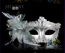 Wholesale Gold Red Masquerade Masks - Silver New Masquerade Ball Fancy Dress Party Prom Eyemask Feathers Hallowmas Venetian Mask Banquet for Lady Girls Woman Birthday
