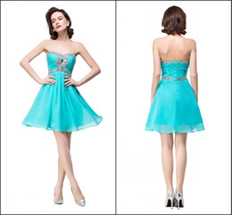 Wholesale Turquoise Chiffon Dress Knee Length - 2016 Turquoise Real Image Cocktail Dresses Sweetheart with Beads A Line Knee Length Short Homecoming Gowns Custom BZP0854