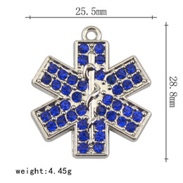 Wholesale Vintage Nurse - Factory Price 30pcs Vintage Metal Rhodium Plated Women Jewelry Blue Crystal EMT Nurse Medical Alert Medical Pendants Necklace & Pendants