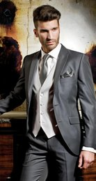 Wholesale Thin Lapel Piece Suits - Latest fashion color of charcoal groom suit lapel thin body married man PROM dresses (coat + pants + + vest)
