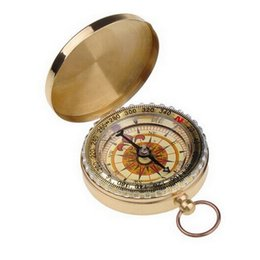 Wholesale Vintage Brass Tool - chic Luminous Brass Pocket Compass Watch Vintage Antique Style Ring KeyChain Camping Hiking Compass Navigation Outdoor Tool E118J