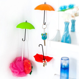 Wholesale Home Umbrella - Self Adhesive Door Pothook Colorful Umbrella Shape Key Hair Pin Wall Hooks Multi Function No Trace Hook For Home Decor 3 2bx B