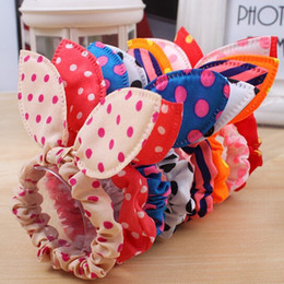 Wholesale Ponytail Hair Rope - SALE! Fashion Girls Hair Band Mix Styles Polka Dot Bow Rabbit Ears Elastic Hair Rope Ponytail Holder Hair Accessories 100PCS
