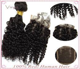 Wholesale Virgin Hair Wholesalers Usa - 100 Virgin Human Hair Extensions USA 6A Cheap Virgin Hair High Quality Curly Weave With Dyeable Hair Closure