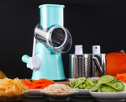 Wholesale Vegetable Julienne Shredder - Round Mandoline Slicer Vegetable Cutter Manual Potato Julienne Carrot Slicer Cheese Grater Stainless Steel Blades Kitchen Tool