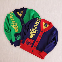 Wholesale Hand Knitting Clothing - baby boy giraffe clothes knit cardigan sweater cartoon cardigan knitting boys sweaters spring autumn free shipping in stock