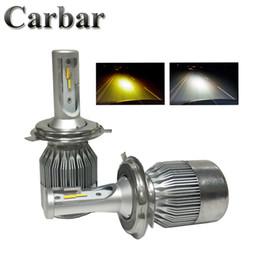 Wholesale H4 Color - H4 Automobiles Headlight Bulbs Dual Color 3000k Fog Light 6500k LED Headlight H4 72W 7600LM set LED Healdlamp Light H4 H7 H8 H11