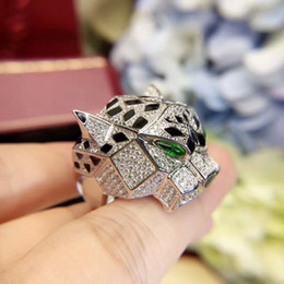 Wholesale leopard fashion jewelry - High quality designer fashion 925 sterling silver green eyes leopard ring animal shape aaa zirconia diamond jewelry for women or men