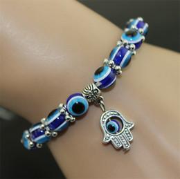 Wholesale Evil Eye Beads Wholesale Turkey - Turkey Evil Eye Bracelet Resins Beads Shamballa pendant Kabbalah Hand beaded bracelet strand elastic wristband charm jewelry XMAS gifts