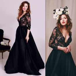 Wholesale China Gowns Online - 2016 Black Prom Dresses Sleeves Deep V-neck A-line Tulle And Lace Illusion Full Length Evening Party Gowns Online Store Country Style China