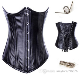 Wholesale Leather Waist Training Corsets - waist trainers Womens Hot Selling Sexy Leather Underbust Waist Training Corset with Zipper Corset Bustier Top waist cincher