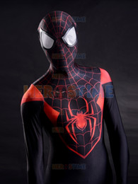 Wholesale Kids Spiderman Spandex - 2015 Newest Spider-Man Costume red and black lycra spandex superhero spiderman costume halloween cosplay zentai suit free shipping