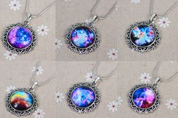 Wholesale Astronomy Space - Women Men necklace Galaxy Nebula Space Antique Silver Glass Dome Pendant Necklace Friendship BFF Necklace Astronomy Geek Jewelry