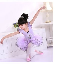 Wholesale Mesh Ruffle Skirt - 2017 stage wear Children's daily performance skirt,balle dresses, short sleeve veil kindgarten costumes dance clothes. lace dress skirt